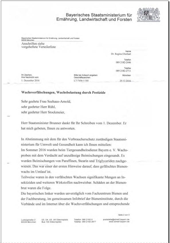 Bayerisches Staatsministerium für Ernährung und Landwirtschaft - Erklärung zur kostenlosen Wachsproben-Untersuchung
