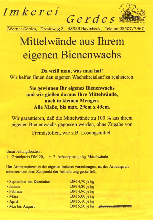 Flyer Gerdes Wachsumarbeitung vor 20 Jahren (Vorderseite)